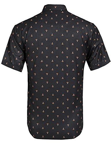 Hasuit - Camicia da uomo, taglio dritto, stampa casual, a maniche corte Black