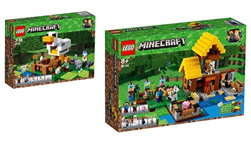 LEGO Minecraft 2er Set: 21140 Hühnerstall + 21144 Farmhäuschen