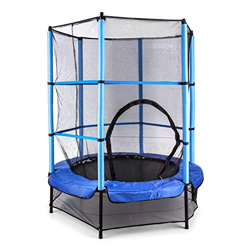 Klarfit Rocketkid Trampoline (surface de saut de 140cm, filet de sécurité, supporte jusqu'à 50 kg, à partir de 3 ans) - bleu