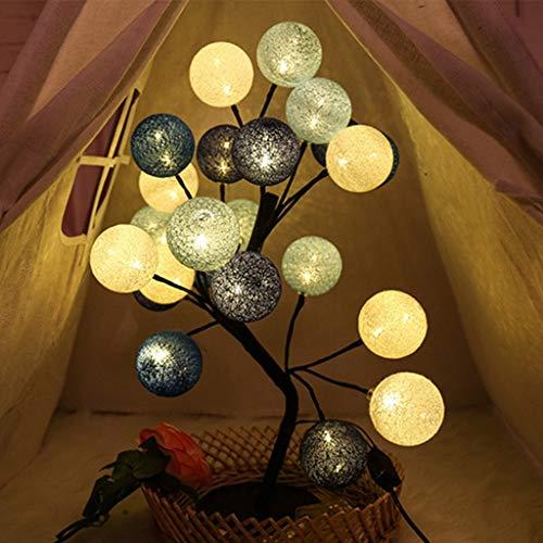 HAOYUE LED-Bunte Baumwolle Kugelleuchten, warmes Weiß Batteriebetriebene Lichterketten, Sterne Wand Indoor-Nachtlichter für Haus Hochzeit Weihnachten Halloween-Dekoration-Lampe,Grau