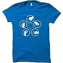 """Camiseta para hombre, diseño con motivos del juego de The Big Bang Theory """"Piedra, Papel, Tijera, Lagarto, Spock"""""""
