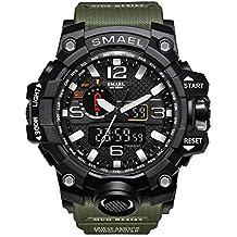 Rocita Orologi orologio sportivo multi uomini di funzione casual impermeabile da polso militari Masculino LED analogico al quarzo con batteria (nero e verde militare)