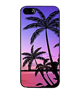 PrintVisa Designer Back Case Cover for Apple iPhone 5 (Pink Calm Ocean Waters Sunset Palm Trees )