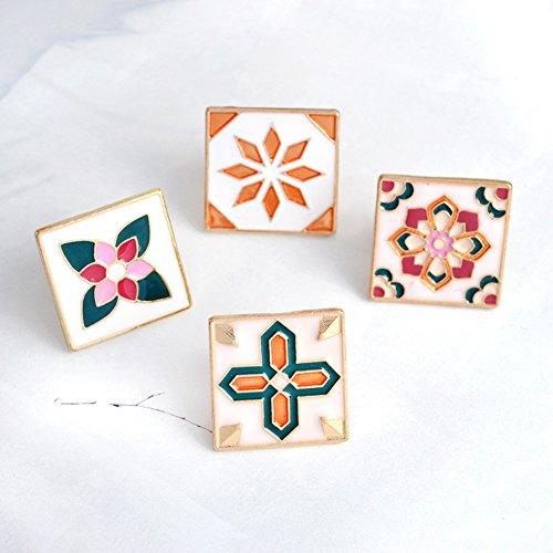 Brooch Set, 4 Pcs Vintage Flower Brooch Pin Badge for Womens Girls