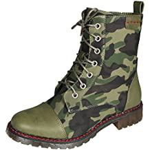 Mevina Damen Stiefeletten Camouflage Muster Worker Boots Schnürer Grunge Punk Schuhe Schnürstiefeletten Profilsohle Blockabsatz Stiefel high Heels Boots Winter