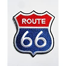 Patches – Route 66 – Red Blue – Biker – Rocker – Chopper – Vest – Iron on Patch – Aplica Embroidery escudo bordado disfraz cadeau- Give away