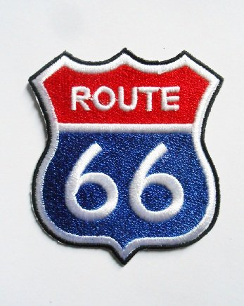 c36da21f9b53 Patches - Route 66 - Red Blue - Biker - Rocker - Chopper - Vest - Iron on  Patch - Aplica Embroidery escudo bordado disfraz cadeau- Give away