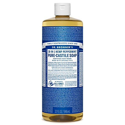Dr. Bronner's Magic Soaps Pure-Castile Soap, 18-in-1 Hemp Peppermint, 32-Ounce Bottle
