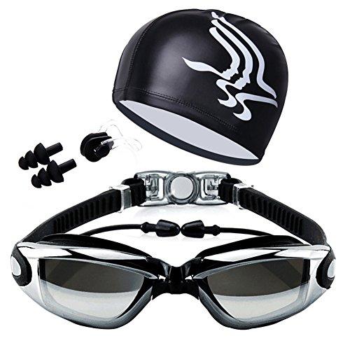 xMxDESiZ Schwimmbrille mit Hut Ohrstöpsel Nasenklemme Anzug Wasserdichte Schwimmbrille Anti-Fog Galvanik schwarz (Schneemobil-anzüge)