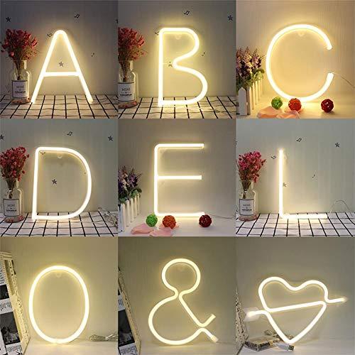 SUNSETGLOW Lámpara De Alfabeto De Neón De Luz Nocturna 26 Letras LED Para El Banquete De Bodas De Cumpleaños Dormitorio Decoración De Pared Colgante De Luz Nocturna
