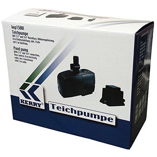 KERRY ELECTRONICS Pumpe kep1500l, 12V Teichpumpe inkl. Trafo, 1500l/h, nur 25W, 250cm Förderhöhe, inkl. Förderhöhenregulierung