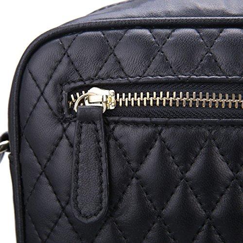 Borsa A Tracolla Ms. Messenger Bag Lingge Pelle Di Pecora,Silver black