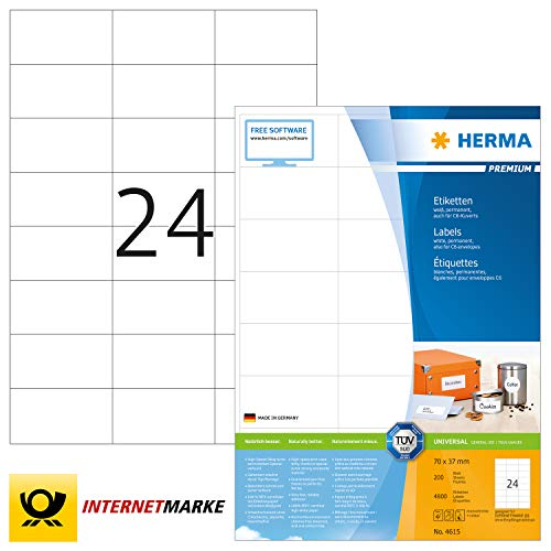 HERMA 4615 Adressaufkleber DIN A4 (70 x 37 mm, 200 Blatt, Papier, matt) selbstklebend, bedruckbar, permanent haftende Universal Etiketten, 4.800 Klebeetiketten, weiß
