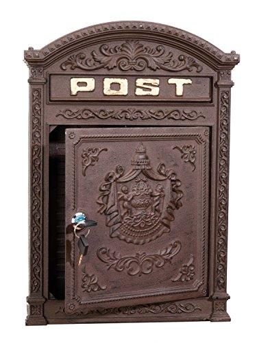 Briefkasten Wandbriefkasten Alu Nostalgie Postkasten braun antik Stil letterbox - 2