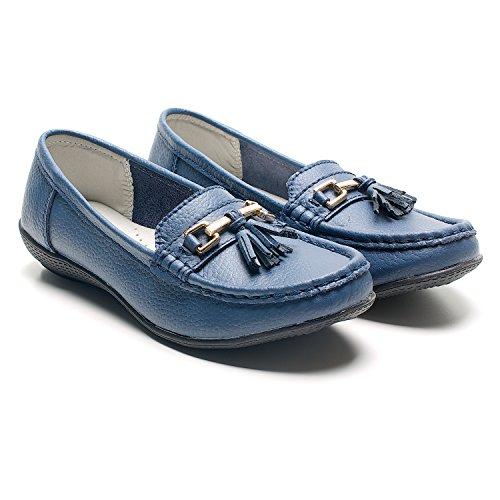 Damen Flache Quaste, Sommer, Urlaub, Freizeit, Casual-Walking Comfy Damen Pumps Mokassins Slipper Deck Schuhe Größe Dunkelblau