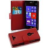 Nokia Lumia 925 Hülle in ROT von Cadorabo - Handyhülle mit Kartenfach Case Cover Schutzhülle Etui Tasche Book Klapp Style in INFERNO ROT