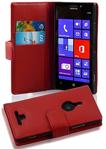 Cadorabo Hülle für Nokia Lumia 925 - Hülle in Inferno ROT - Handyhülle mit Kartenfach aus struktriertem Kunstleder - Case Cover Schutzhülle Etui Tasche Book Klapp Style