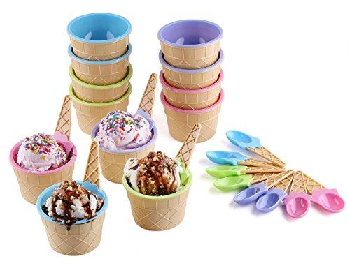 Vibrantes colores helado postre cuencos y cucharas (Juego de 6)