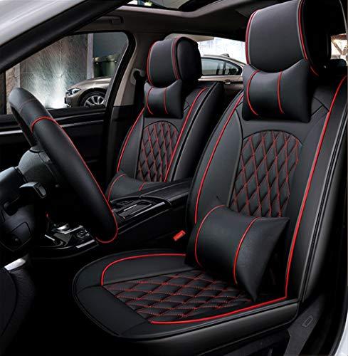 Ededi Leder Sitzbezüge-Set, Universal Gitter Autositzbezüge Set Voll Auto Vorderseite und Rückseite, 9-Teiliges Set (Farbe : Black+Red) -