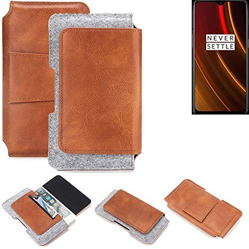 K-S-Trade Gürteltasche für OnePlus 6T McLaren Edition Gürtel Tasche Schutz Hülle Hüfttasche Belt Case Schutzhülle Handy Hülle Smartphone Sleeve aus Filz + Kunstleder (1 St.)