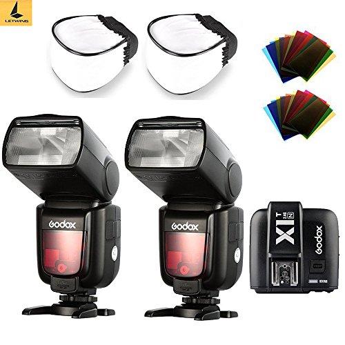 2 Biltzgeräte Godox TT685N TTL 2,4 G,HSS High Speed, Speedlite 1/8000s, GN60 mit X1T-N TTL Transmitter für Nikon DSLR Kameras