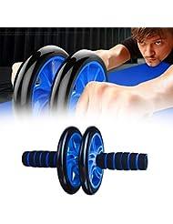 Rueda de rodillo abdominal, equipo de fitness con asas de agarre fácil, rueda doble