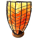 AUM-Himalayan Salt Lamp Metal Basket With Natural Pink Rock Salt Chunks For Natural Air Purifying Decoration Prosperity Harmony Wellness Natural Healing Max Positive Energy -100% Authentic Product
