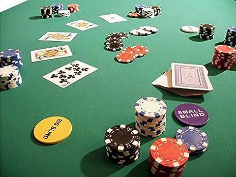 Pokertuch Casino Spieltuch Poker Stoff Pokertisch Auflage Tischtuch Tischdecke (grün, 250x160 cm) (Texas Holdem Poker Tischdecke)