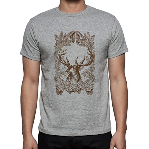 Deer Animal Wood Creature Horns Logo Brown Big Herren T-Shirt Grau