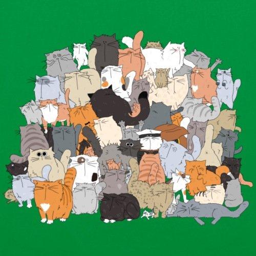Spreadshirt Katzen Bande Stoffbeutel Kelly Green