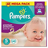 Pampers Premium Protection Active Fit Windeln für Babys, Größe 5(11-25kg),68Windeln