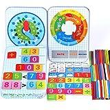 Holz Montessori Mathe Spielzeug Magnetische Kalenderuhr Ideale Metallbox Reisegröße,  Zählen von Stöcken Wetter Uhrzeiterkennung Puzzle-Spiele Pädagogische Vorschule Motorik lernen ab 3 jahren