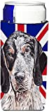 Caroline's Treasures SC9890MUK Blue Tick Coonhound with English Union Jack British Flag Michelob Ultra Koozies, Slim, Multicolor
