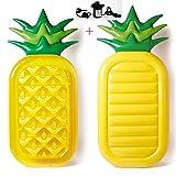 GYFY Doppia Foglia di Colore Ananas Anguria Galleggiante Fila Gonfiabile Nuoto Anello Adulto Moda Ananas Galleggiante Sedia di Salvataggio (Inviare Pompa dell'Aria Auto),Pineapple