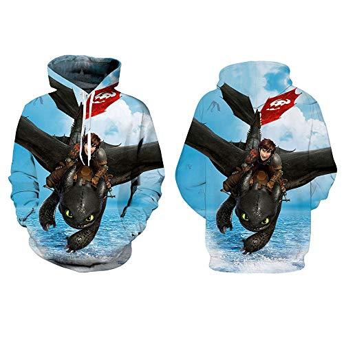 TIANQING Wie Drachenkapuzenpulli trainieren, 3D Anime Sweater Print Reißverschluss Strickjacke Sport Sweater Coat Cosplay Sweater, mit großen Taschen Hoodie,B,S -
