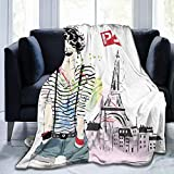 Ultra-Soft Micro Fleece Soft And Warm Throw Blanket, Eiffel Tower, Sketch of Laughing Girl in Front of Eiffel Tower Paris Happiness Stain,50' 40',Multicolor