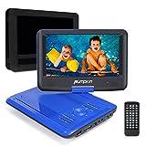 Lettore DVD portatile Pumpkin, 5 ore gioco tempo, Schermo 9 pollici 800*480 Rotazione a 270° ,Lettore USB / SD Card, Ingresso AV IN / OUT, include Supporto Poggiatesta per Auto (Blu) immagine