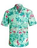APTRO Herren Hemd Strandhemd Hawaiihemd Kurzarm Urlaub Hemd Freizeit Reise Hemd Party Hemd Flamingo Grün BT020 XL