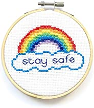 Stay Safe Rainbow Cross Stitch Kit For Beginners