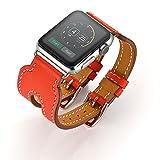 FOTOWELT für Apple-Uhr-Reihe 1/2, 2016 Neue Art-42mm doppelte Wölbungs-Luxuxstulpe-echtes Leder-Wiedereinbau-Armband-Uhrenarmband für Apple-Uhr-Reihe 1/2 iWatch-Orange Rot