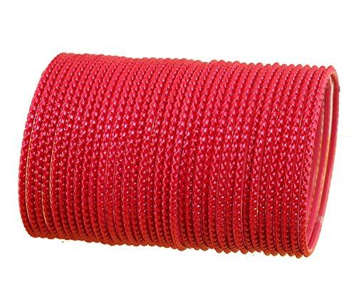 NEU. Prüfstein indischen Bollywood von Qualifizierten Laser geschnitten strukturiert glänzend Tomate rot Farbe Handgelenk Filler Designer Schmuck Armreif Armbänder. Set von 36. (Indische Armreifen Rot)