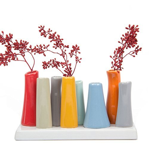 """2 Vase (Chive, """"Pooley 2"""", rechteckige Blütenknospen-Vase mit 8Röhren aus Keramik für kurze Blumen, Sortiment in Rot mit Grau, Orange und Blau)"""