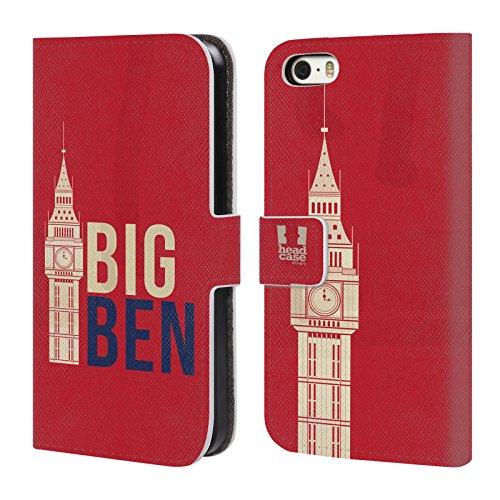 Head Case Designs Typographie De Drapeau Londres La Mieux Étui Coque De Livre En Cuir Pour Apple iPhone 5c Big Ben