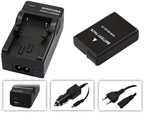 3in1-SET für die Nikon D3400 und D5600 SLR Digitalkamera --- PREMIUM Akku für Nikon EN-EL14 / EN-EL14a (1200mAh) + 4in1 Ladegerät (u.a. mit USB / micro-USB und Kfz/Auto) inkl. PATONA Displaypad Nikon-kamera-bundle