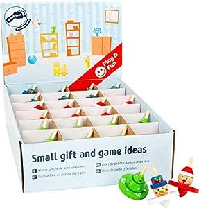 small foot company- Display Peonzas de Navidad, Small Foot, de Madera, Juego de 12 Piezas, Cada una con una Altura de 6 cm, Ø Aprox. 4 cm Juguetes, (11471)