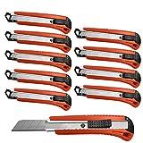10 Stück Profi Cuttermesser Schneidemesser mit 18mm Abbrechklinge Teppichmesser