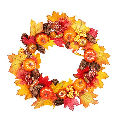 BESTOYARD Maple Garland Hanger Berry Pumkin Couronne en rotin Decor pour Thanksgiving
