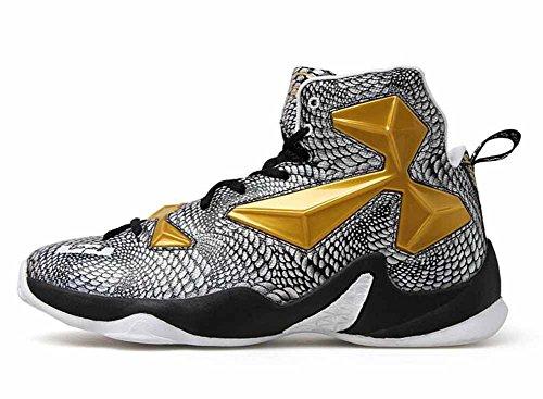 Lässige Schuhe Männer Breathable Basketball Sneakers Neue Outdoor High Top Sportschuhe Leichter Laufschuh (Farbe : Gold, größe : 45) (Gold Männer High-tops)