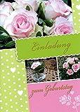 Einladungskarten Geburtstag Erwachsene Frau Mann mit Innentext Motiv: Rosa Rosen 10 Klappkarten DIN A6 mit weißen Umschlägen im Set Geburtstagskarten mit Kuvert Einladung Geburtstag Frau Mann K140