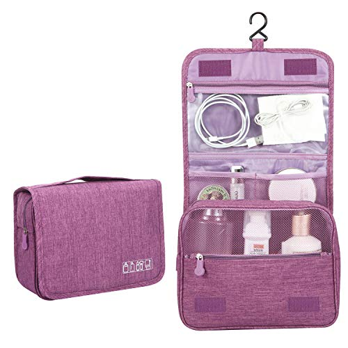 Kulturtasche zum Aufhängen | Faltbarer Reise Kulturbeutel mit Tragegriff | Multifunktionale Toilettentasche, platzsparende Kosmetiktasche, Waschtasche, Waschbeutel für Herren, Damen(Purple)